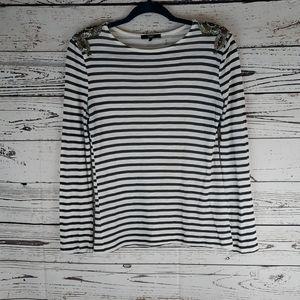 Tart striped long sleeve embellished shoulders